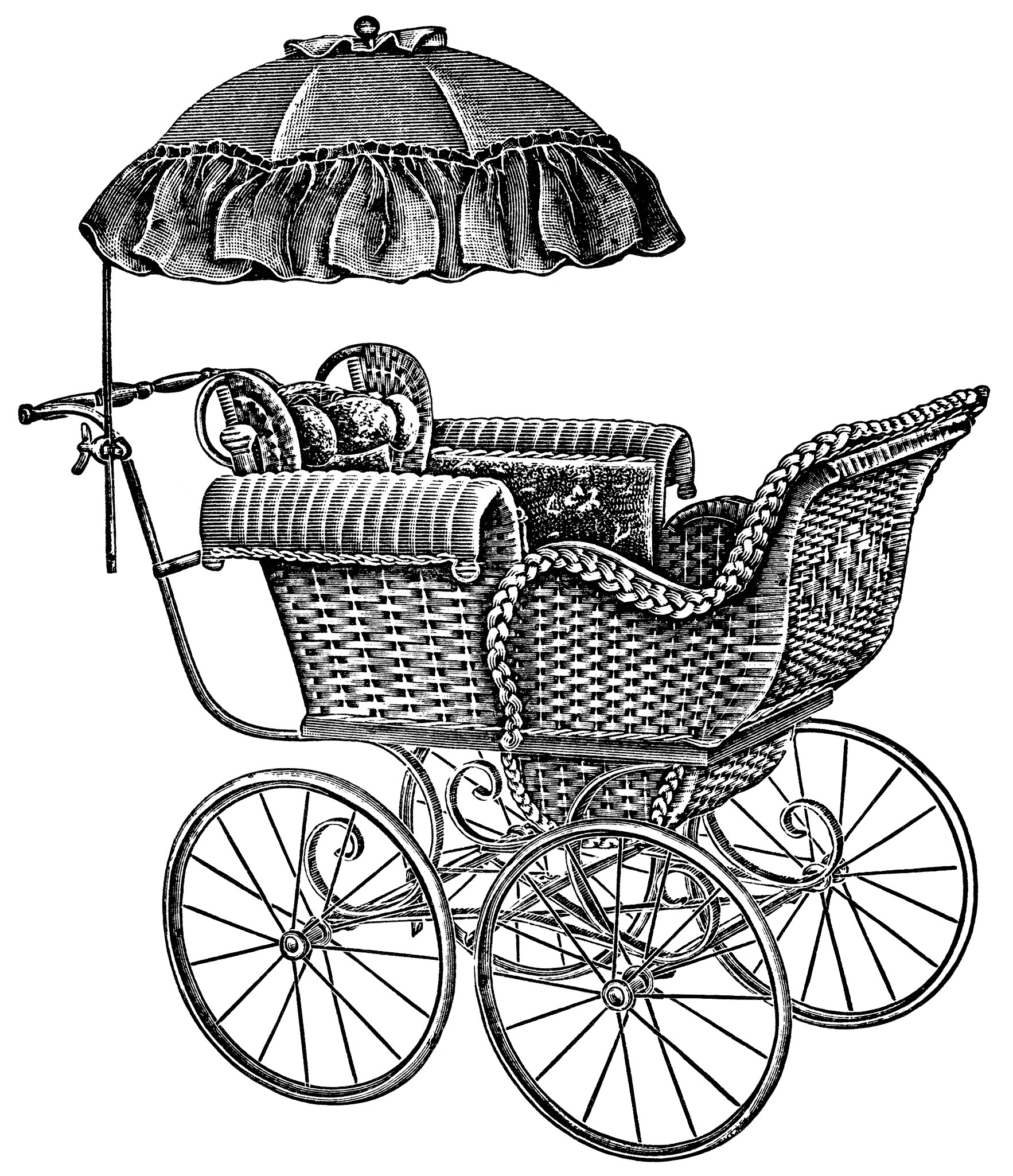 Baby Carriages Free Vintage Clip Art