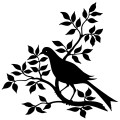 bird branch silhouette, black and white graphic, vintage bird clip art, bird on branch with leaves illustration