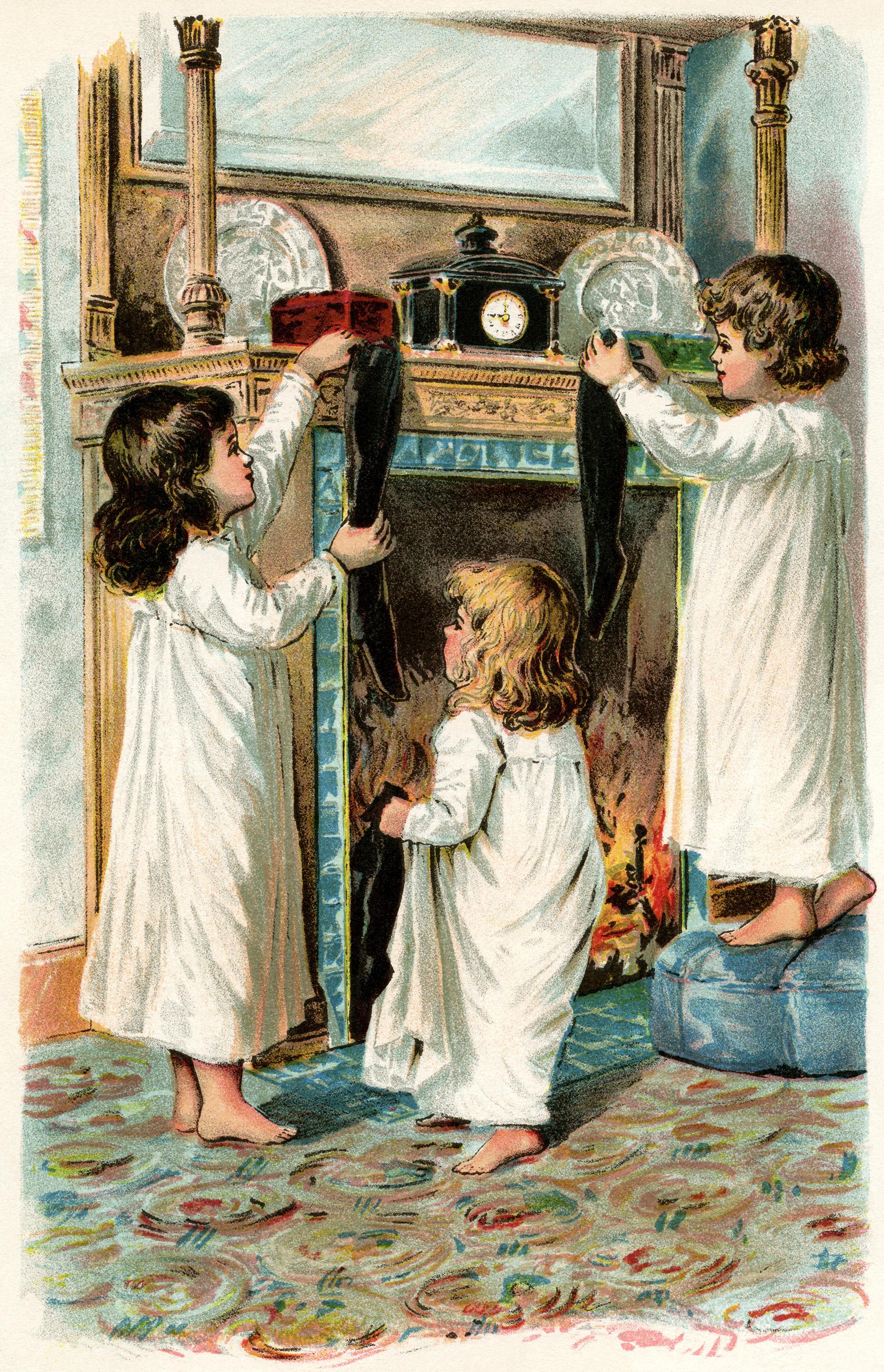 girls Christmas stocking, Victorian children clip art, vintage ...