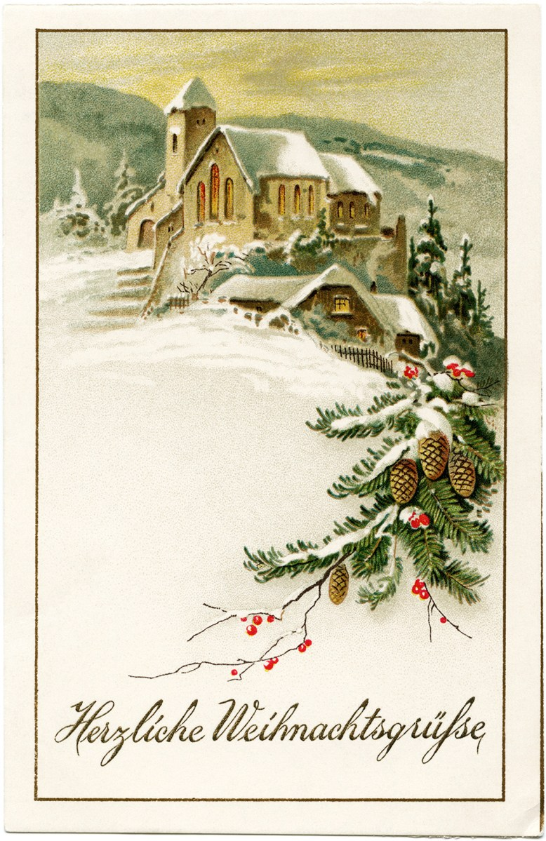 Country Church Scene~ Free Christmas Graphic | Old Design ...