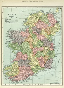 Ireland map, vintage map download, antique map, C. S. Hammond, history geography Ireland