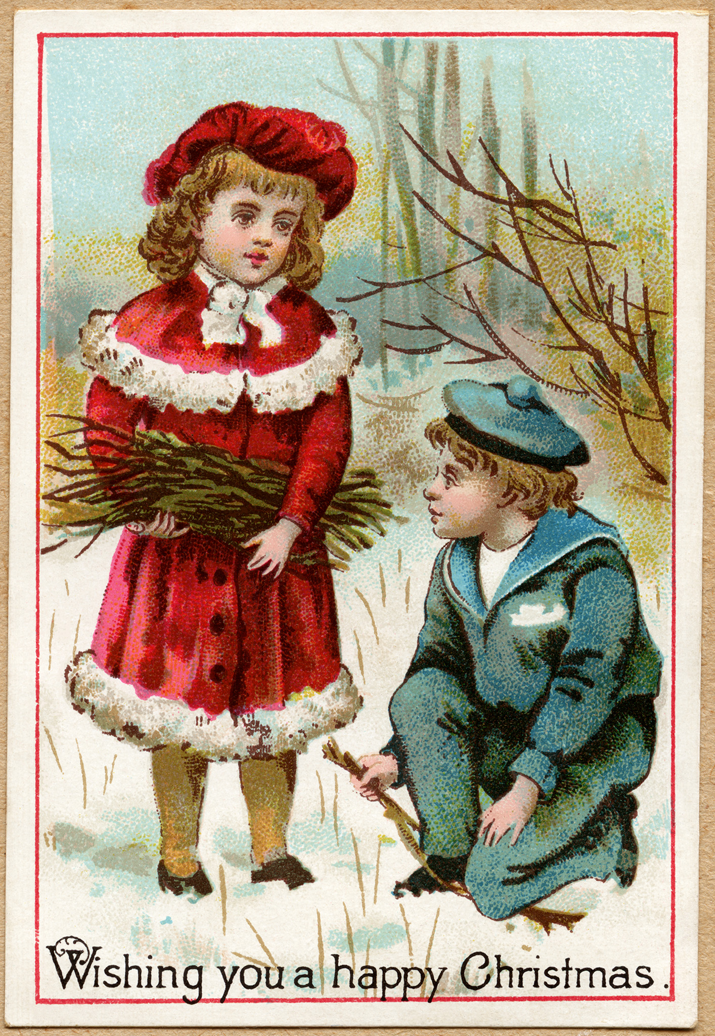 Victorian Children Gathering Twigs Old Design Shop Blog