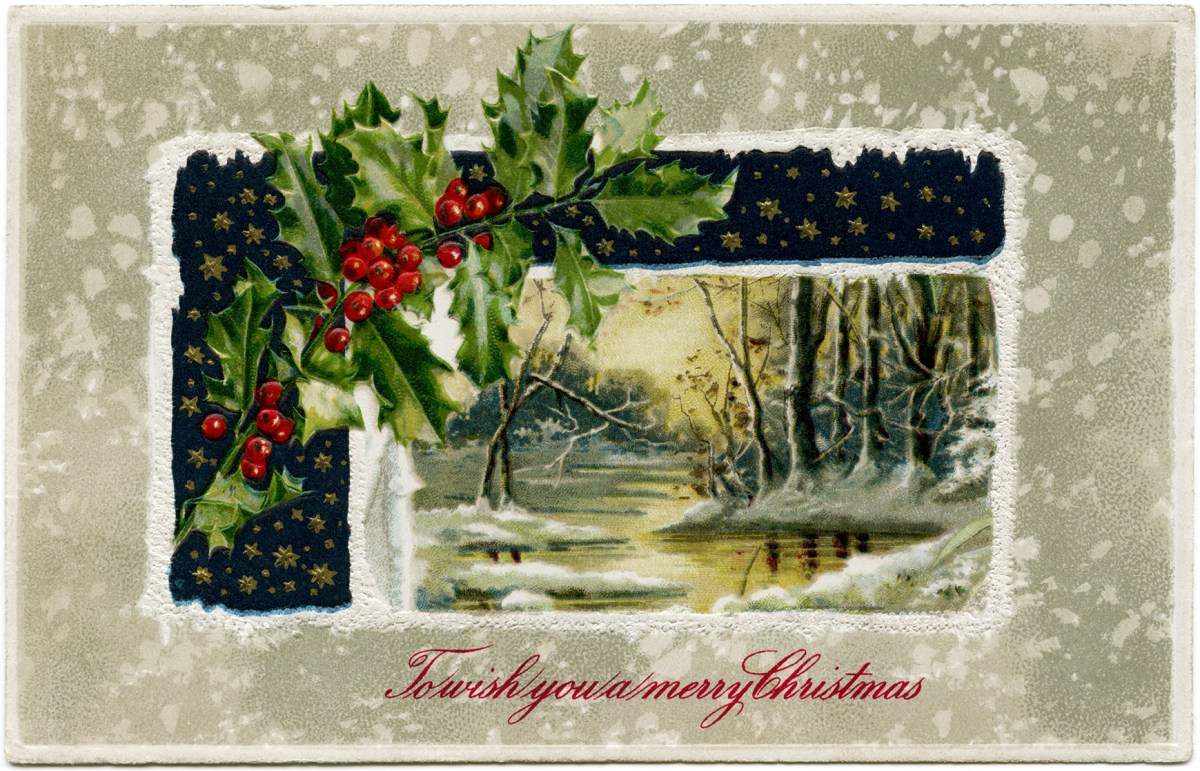 Winter Scene Holly And Berries Free Image Old Design