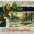 vintage Christmas postcard, Victorian Christmas card, antique Christmas illustration, winter scene clip art, holly and berries