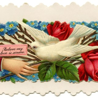 Victorian Calling Card Roses and Dove