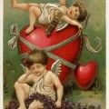 vintage valentine postcard, cherubs and hearts clip art, old fashioned valentine card, vintage cupid illustration, printable valentines day card