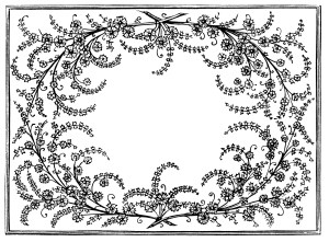 frame clip art, black and white graphics, vintage flowers leaves design, ornamental swirl frame, vintage floral illustration