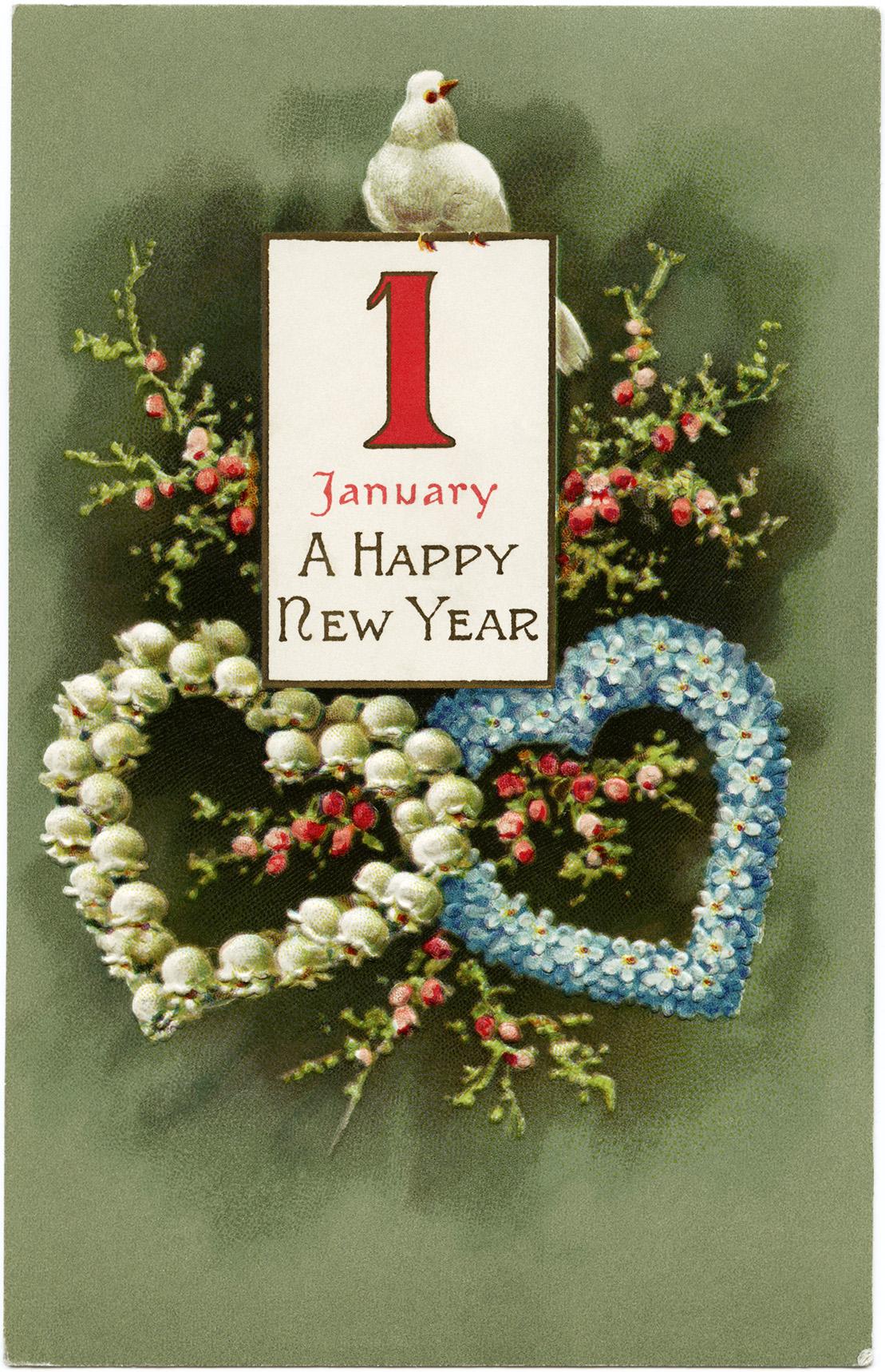 January 1 Vintage New Year Postcard Old Design Shop Blog