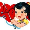 sew be mine valentine, vintage valentine clip art, girl sewing hearts, retro valentine card, printable valentines, old fashioned childrens valentine