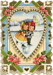 free vintage valentine, Victorian valentine printable, old fashioned valentine card, valentine graphics, children skating clip art, kids at beach clipart