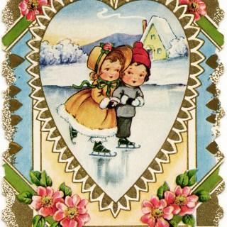 Girl and Boy Skating ~ Free Victorian Valentine