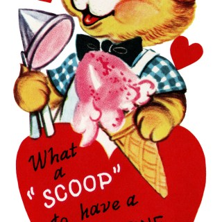 Valentine Bear Scooping Ice Cream