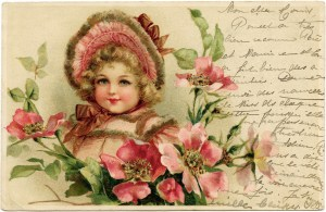 Victorian girl postcard, pink and green feminine card, girl in pink clip art, French handwriting graphics, free vintage ephemera stamp, French 10 mailing stamp