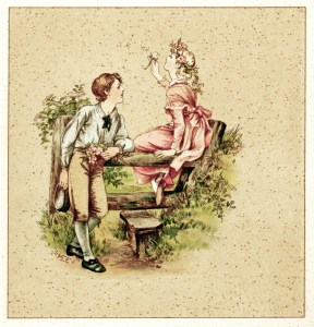 Victorian storybook illustration, M Ellen Edwards art, free vintage clipart, valentine love graphics, young love vintage picture