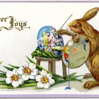 Artistic Bunny Easter Postcard