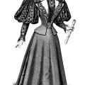 Victorian fashion illustration, old fashioned dress clip art, black and white graphics, vintage ladies clothing, antique grad dress illus