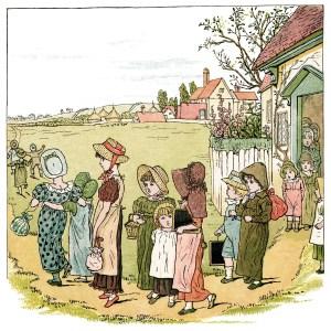 Kate Greenaway, school is over, printable storybook illustration, vintage school clip art