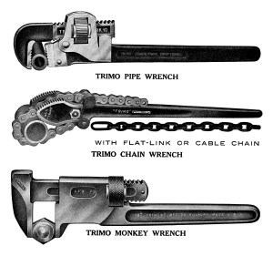 trimo wrench, black and white graphics, vintage wrench clip art, antique handyman tools illustration, old magazine advertisement