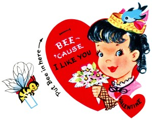 bumblebee valentine, vintage valentine clip art, retro valentine card, printable valentine, girl flowers bee valentine