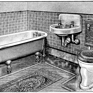 vintage bathroom, bathroom clip art, claw foot tub illus, antique toilet, restroom graphics, black and white clipart