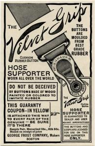 Velvet Grip, hose supporter, vintage advertising, vintage ephemera, antique magazine ad