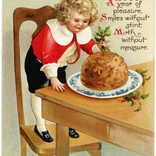 Victorian Boy Plum Pudding Postcard