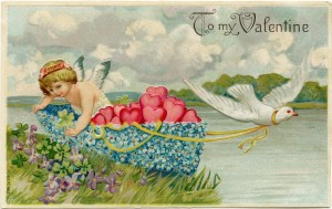 vintage valentine postcard, cherub in floral boat, valentine hearts, valentine clip art, cherub and dove, printable valentine