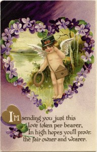 free vintage valentine clip art cherub and purple violets