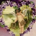 free vintage valentine clip art cherub and purple violets