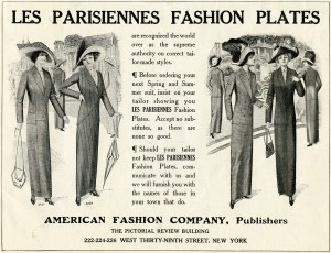 Les Parisiennes, vintage fashion, 1912 fashion, vintage magazine ad, antique ladies clothing