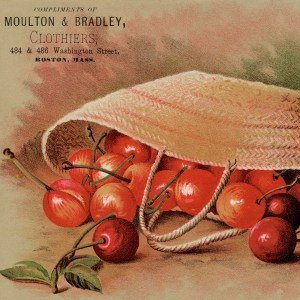 Free Printable Vintage Advertising Card Moulton and Bradley Cherries in Basket