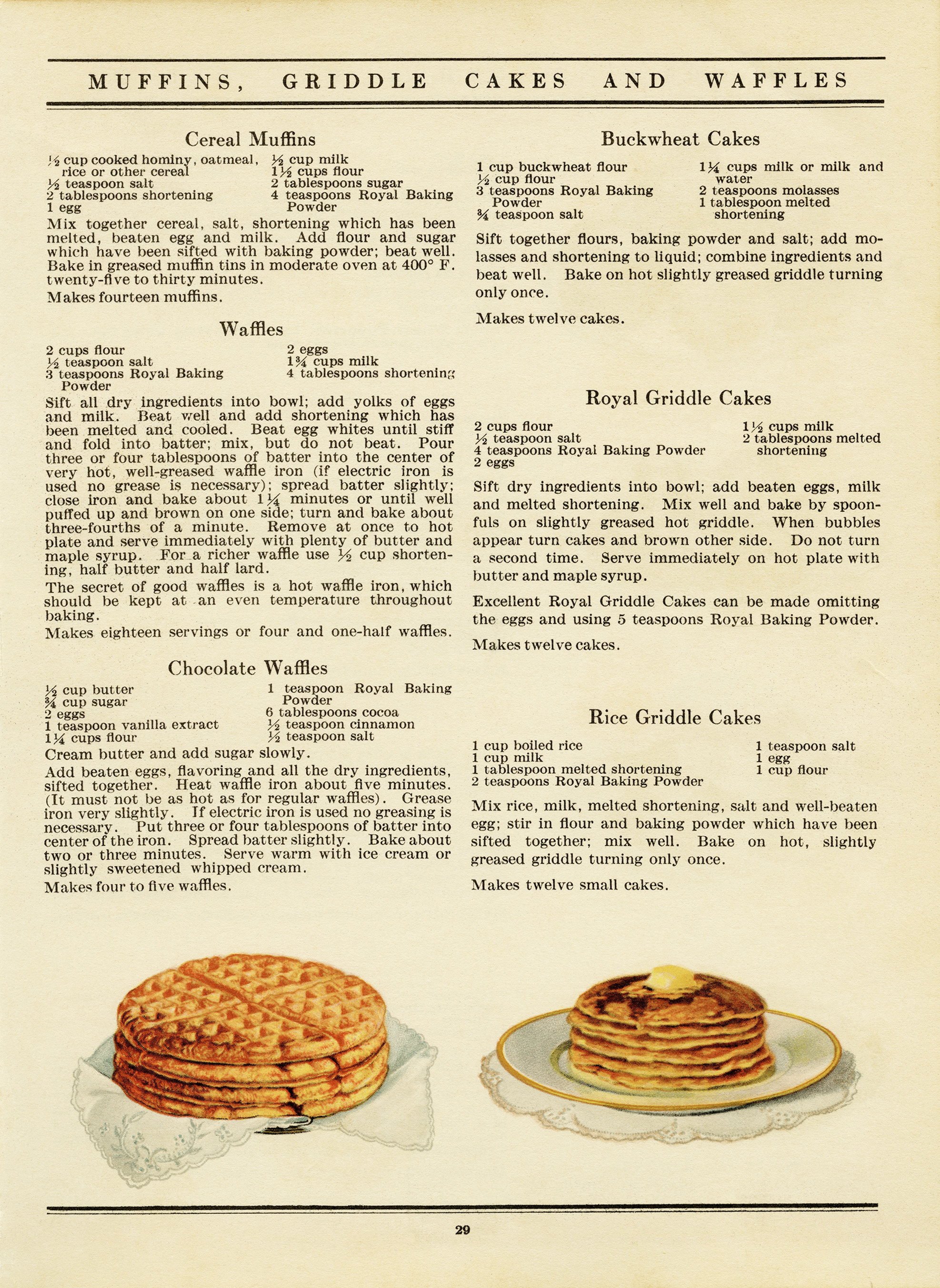 Free Vintage Printable Cookbook Page Muffins Waffles Old