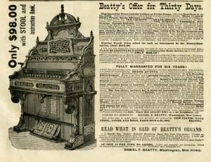 free vintage beatty's organ magazine advertisement clip art