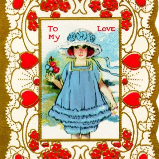 Free Vintage Clip Art Valentine Girl in Blue