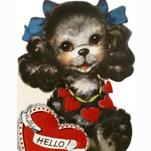 free vintage clip art puppy valentine card
