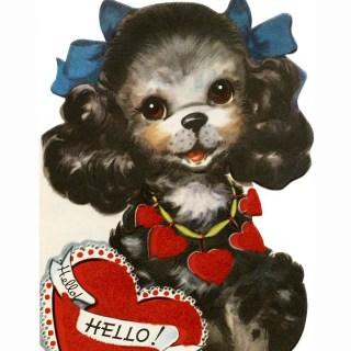 Free Vintage Clip Art Puppy Valentine