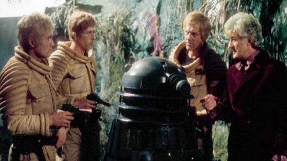 A prototype invisibility-cloaking Dalek, brought back into stark contrast; via spraypaint. The Planet Of The Daleks - 1972.