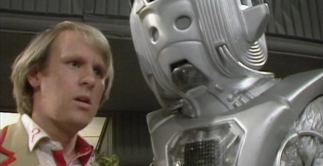 """Cyber leader debates the futile human emotional condition with the Fifth Doctor, in """"Earthshock"""" - 1982."""