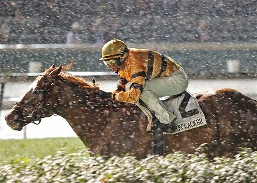 Wise Dan, with jockey John R. Velazquez, wins the Firecracker Handicap horse race in a driving rain Saturday, June 29, 2013, at Churchill Downs in Louisville, Ky. (AP Photo/Churchill Downs/Reed Palmer Photography)