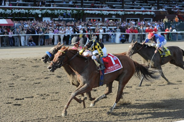 DANCE TO BRISTOL WINNING THE $500,000 BALLERINA S. Gr.1 (NYRA Photo)