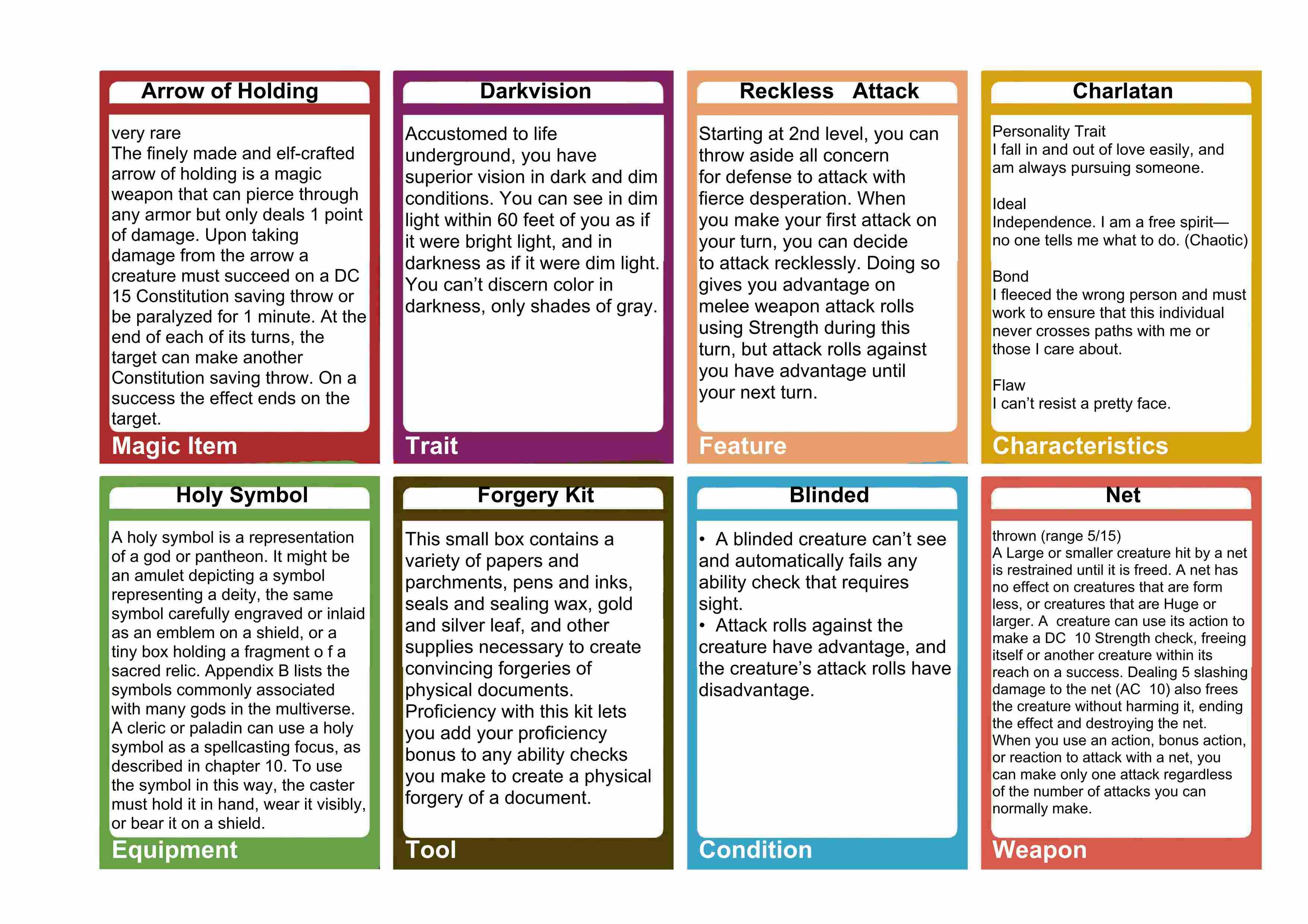 5e General Purpose Cards