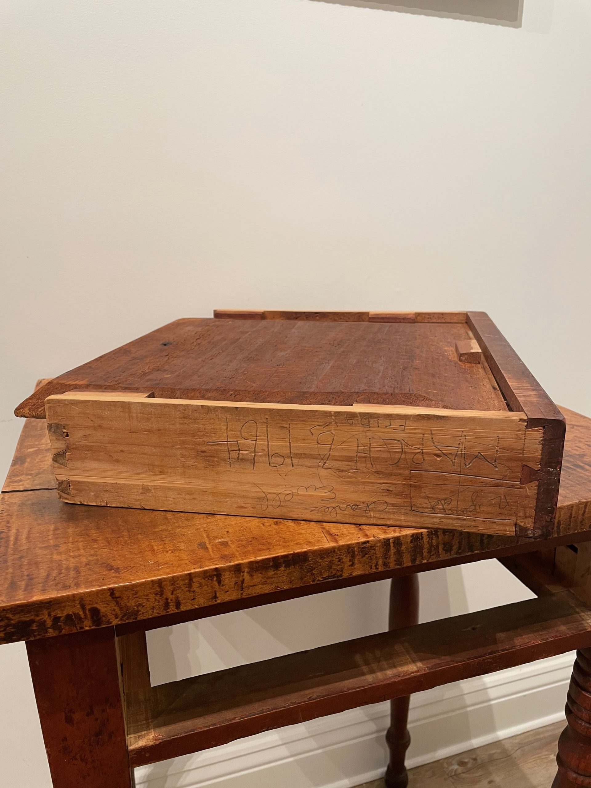 red painted figured maple side table rel=
