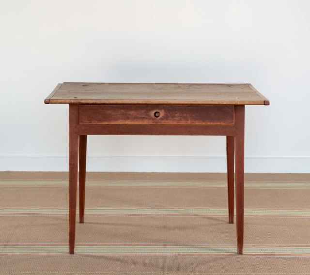 american red-painted tavern table