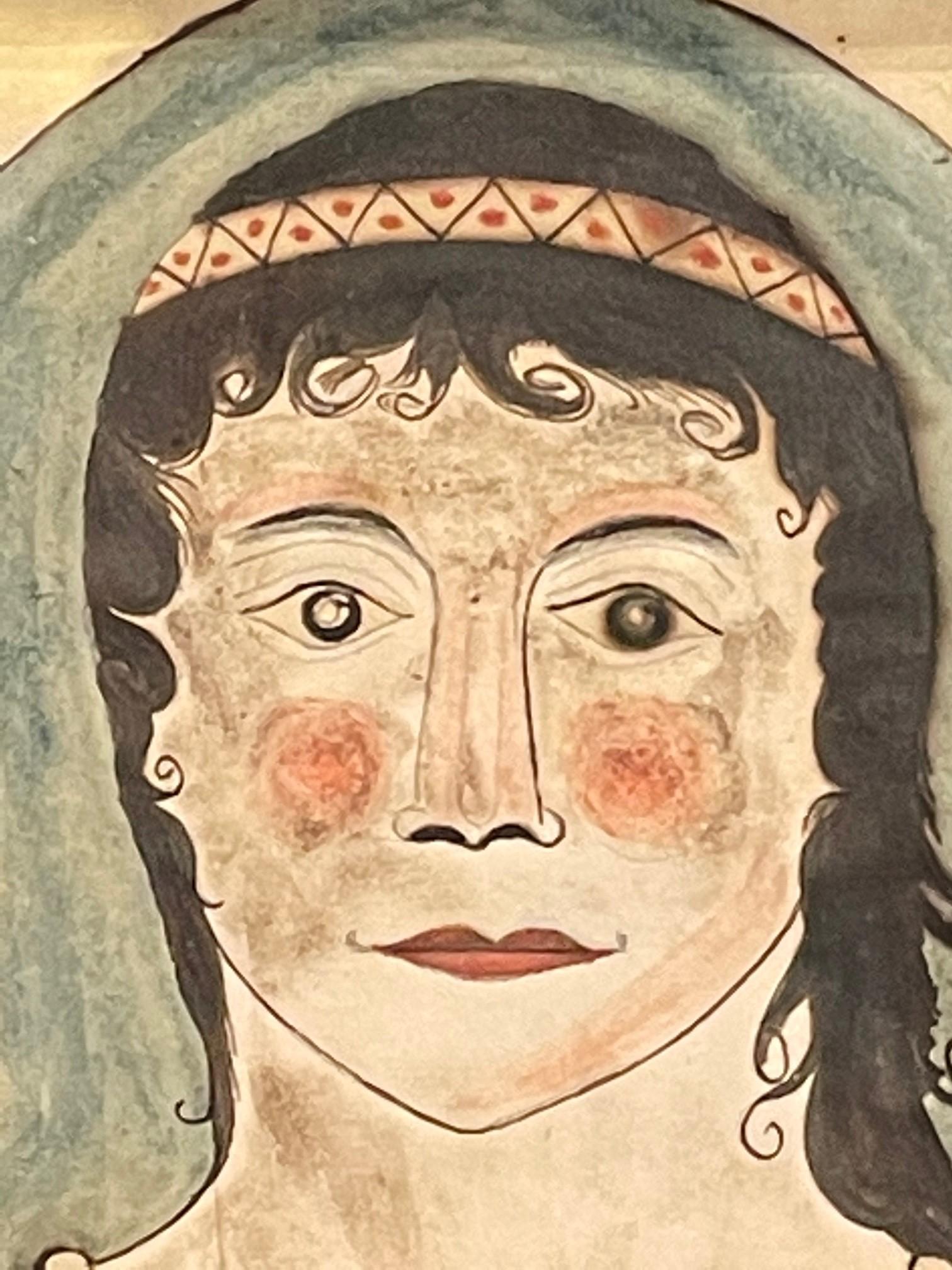 american folk watercolor portrait rel=