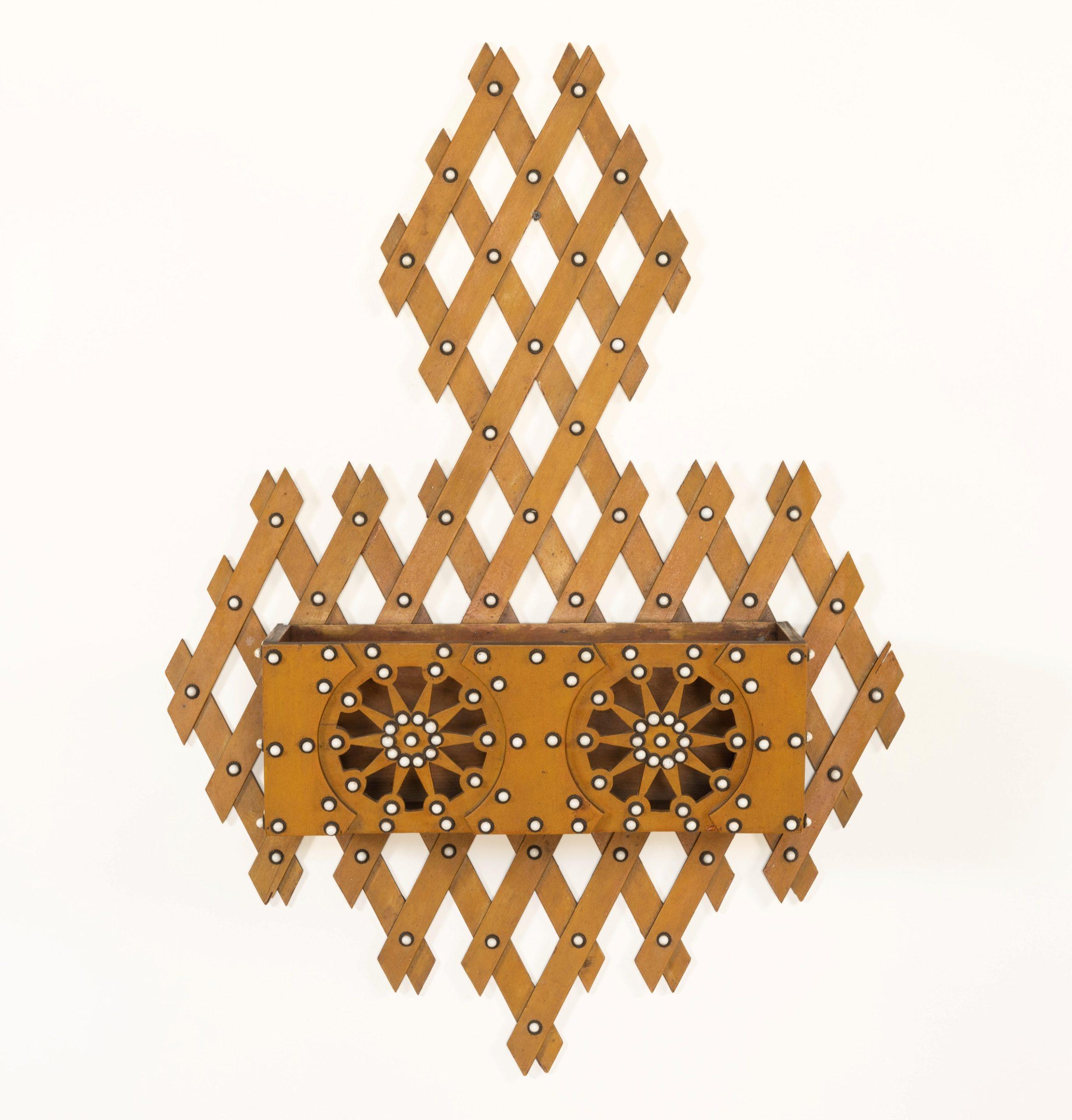 antique lattice-work wall pocket rel=