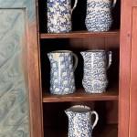 antique American spongeware pitchers