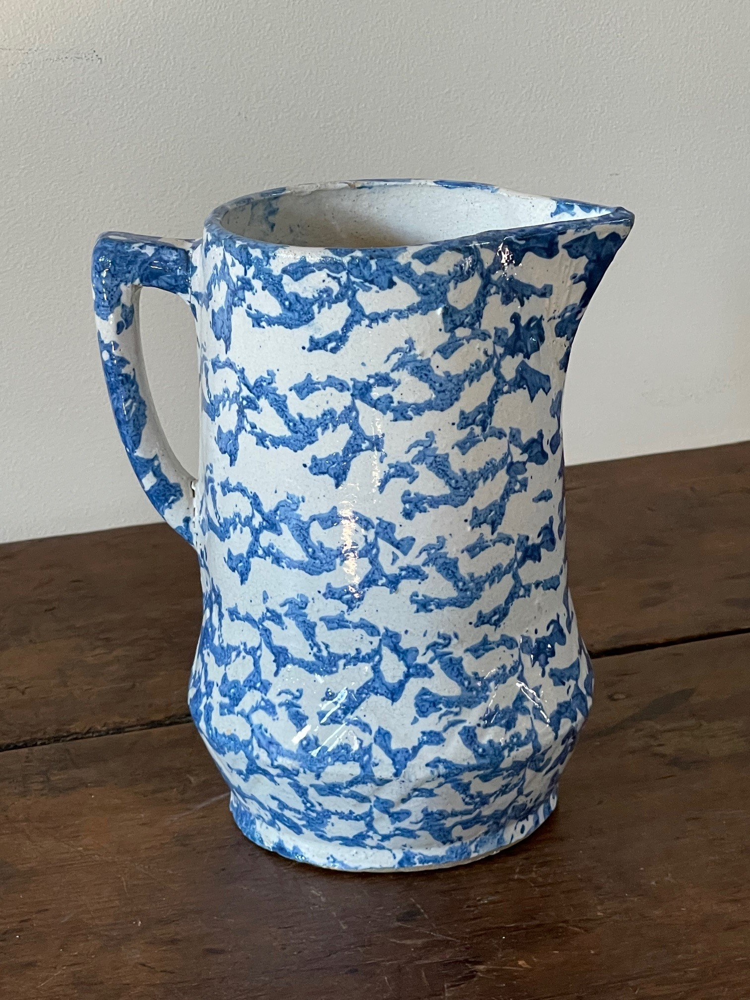 antique American spongeware pitchers rel=