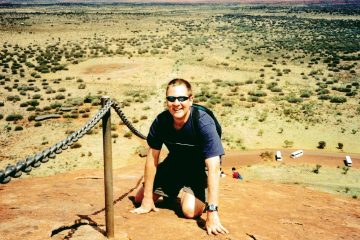 Henry Malmgren climbing Ayers Rock