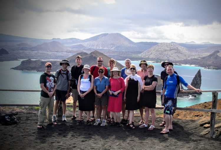 Happy active mature group in the Galapagos.
