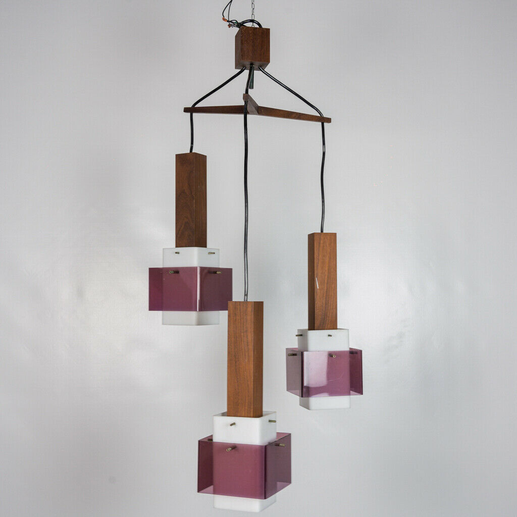La lampada è in buone condizioni ma può mostrare lievi. Lampadario 3 Luci Harvey Guzzini Design Anni 60 Vintage Modernariato Old Era